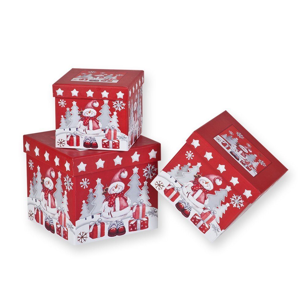 Buy 3 Piece Christmas Nesting Gift Boxes; Red Background with ...