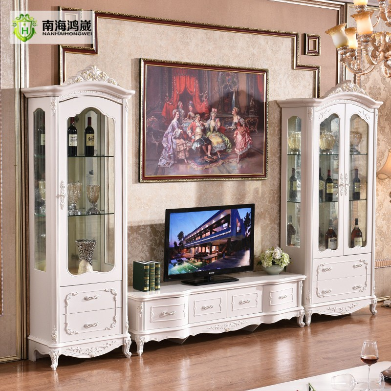 Hand Painted White Decorative Living Room Furniture Partition Display Cabinet