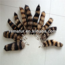 Genuine Raccoon Dog Fur Tail Key Chain Key Ring Lovely OEM Wholesale Retail fox tail