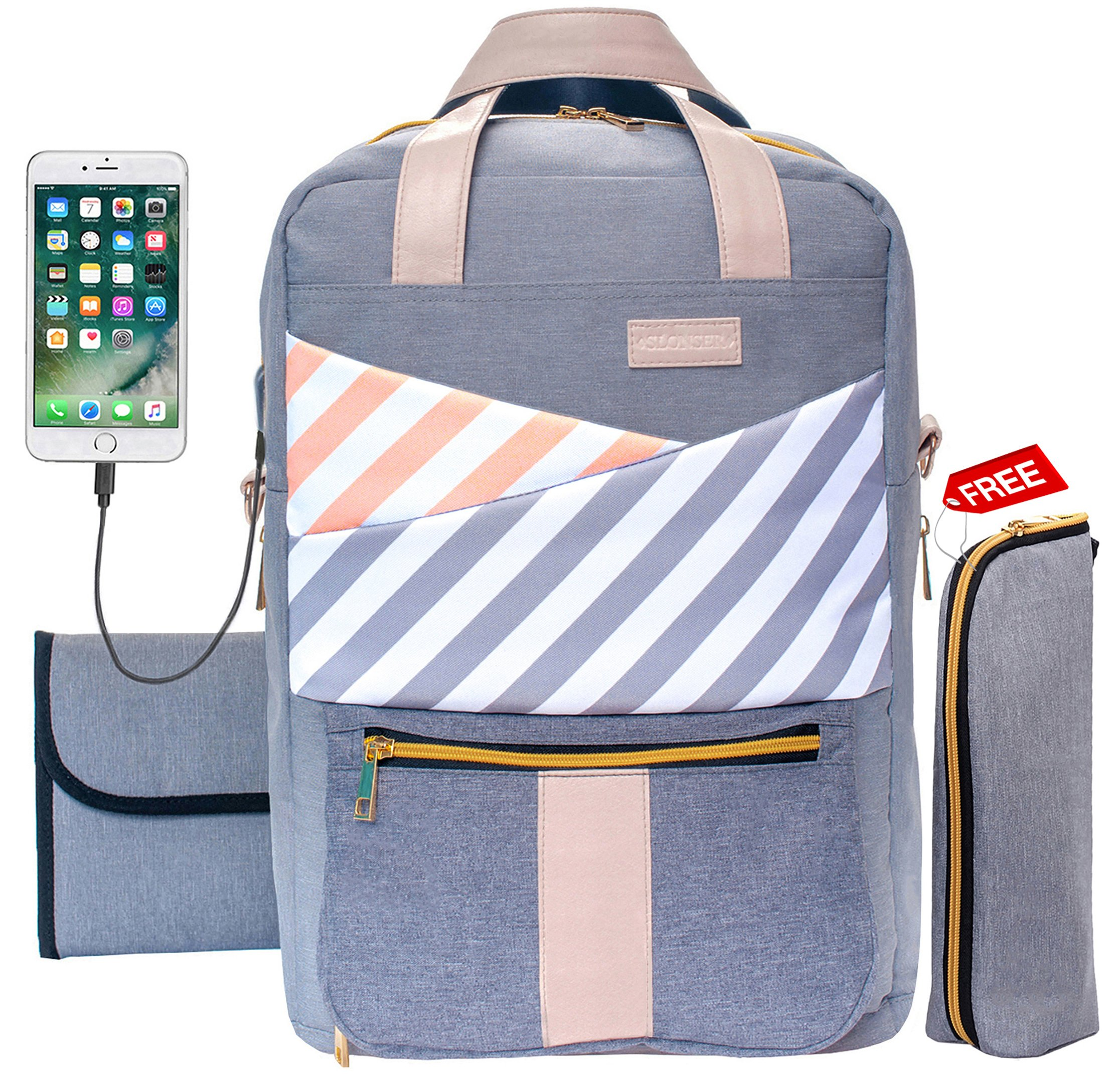 70ddba163e89a Get Quotations · Baby Diaper Bag Backpack Slonser Large Designer  Multifunction Maternity Nappy Tote Bag Organizer Waterproof Travel Nursing