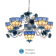Made in china mediterranean style decoration blue color flower chandeliers with tiffany glass shades