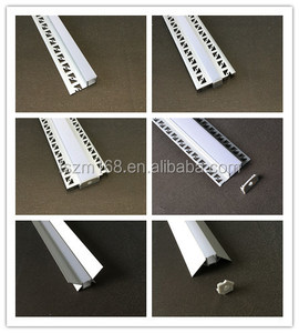 trimless Recessed LED Aluminum Profile in Gypsum Plaster for Drywall (Silver anodized) for Indoor LED Lighting