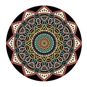 Custom Evergreen Fashion Beautiful Mandala Aztec Pattern Black Background Customized Round Mousepad