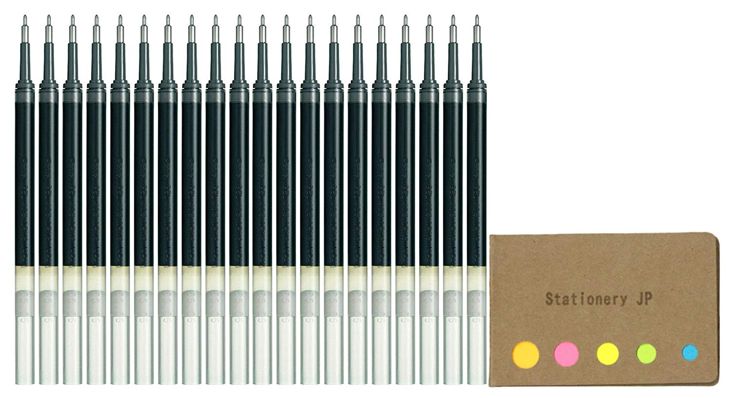 Pentel Refills Ink for EnerGel Liquid Gel Pen, 0.5mm, Black Ink, 20-pack, Sticky Notes Value Set