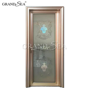 Double tempered solid interior glass doors for bathroom