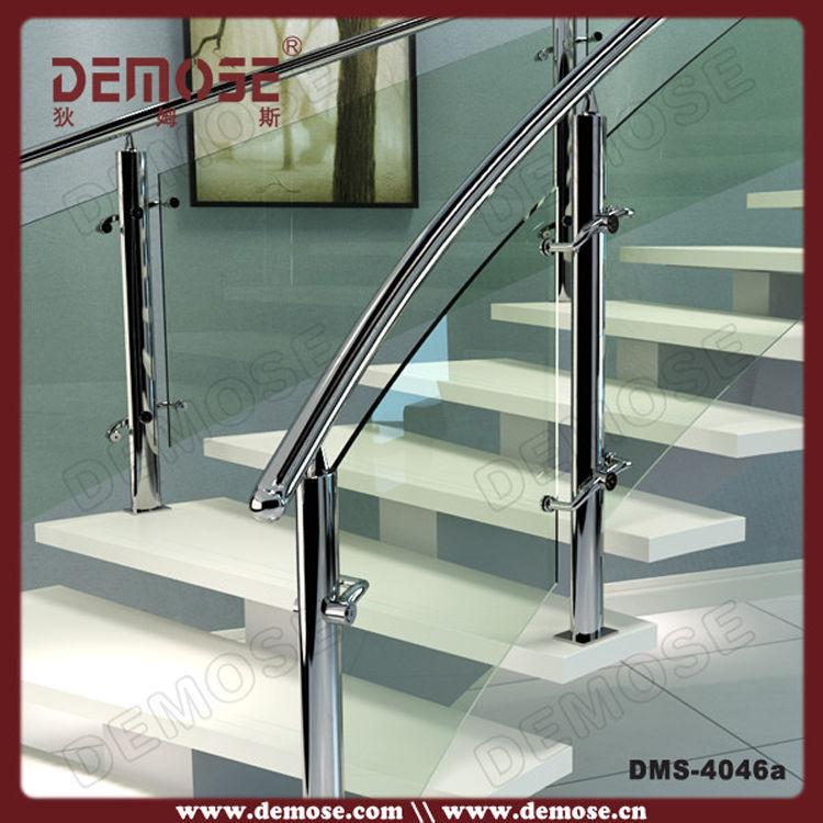 Modern Glass Tread Stainless Steel Rod Railing Doubel