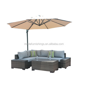 8PC Leisure Modern All Weather Outdoor Wicker Patio and Garden Rattan Plastic Wood Sectional Furniture Sofa Set with Umbrella