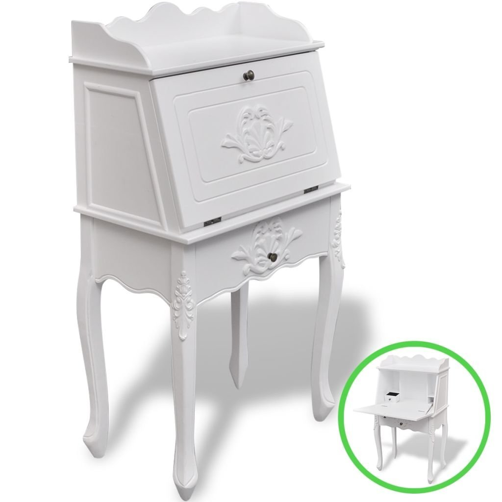 White Office Furniture French Secretary Desk With A White Paint Finish,Wooden Bathroom Storage Cabinet Door With A Hinged Desktop,A Drawer And Shelves