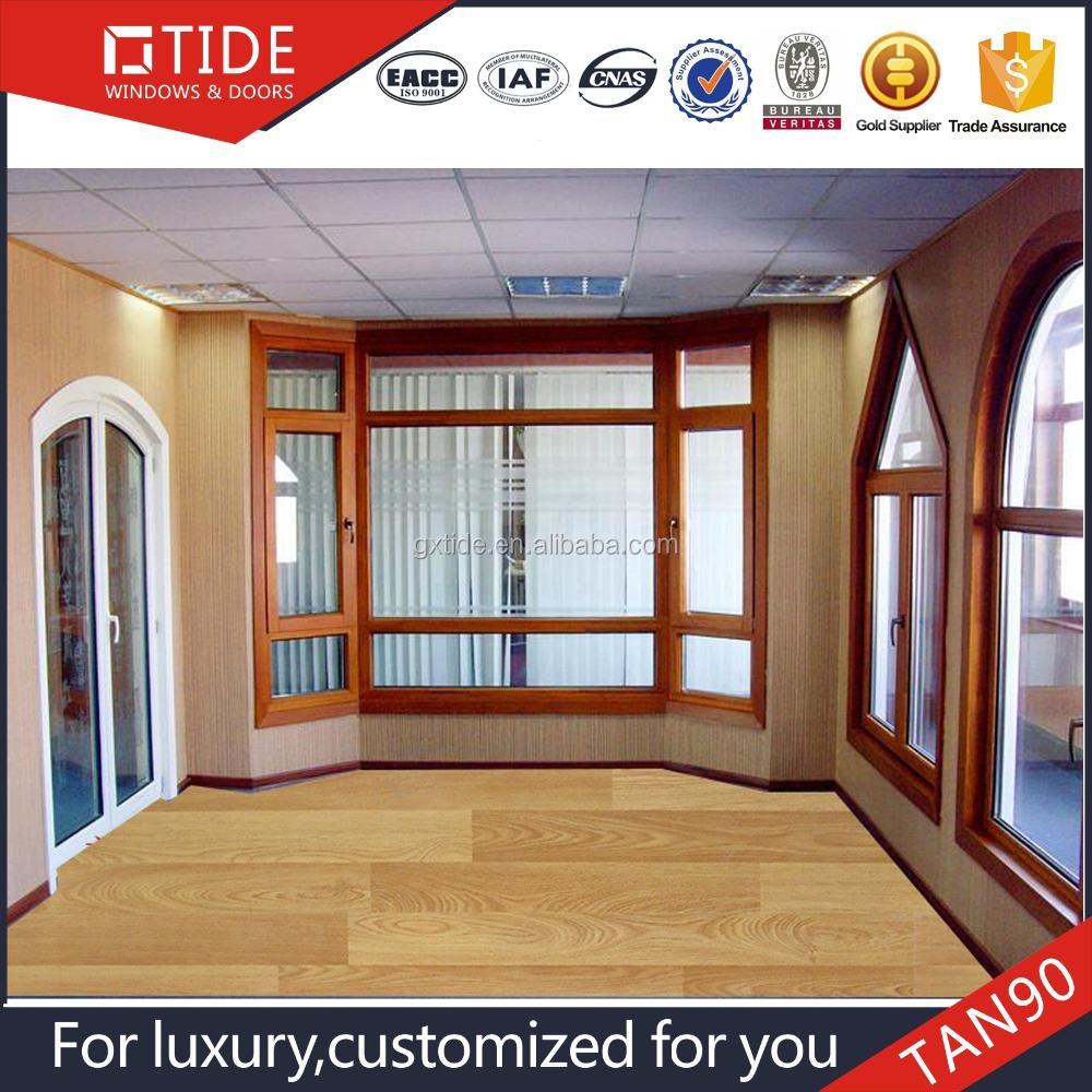 De aluminio de lujo ventanas de madera maciza aleaci n de for Ventanas de aluminio con marco de madera