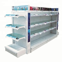 Glass Supermarket Gondola Steel Display Rack Cleaning Shelves