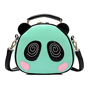 Messenger Bag - TOOGOO(R)Print bag Crossbody Bag Circle Bags Leather Women with Fur Ball Of Women Messenger Bag Panda green