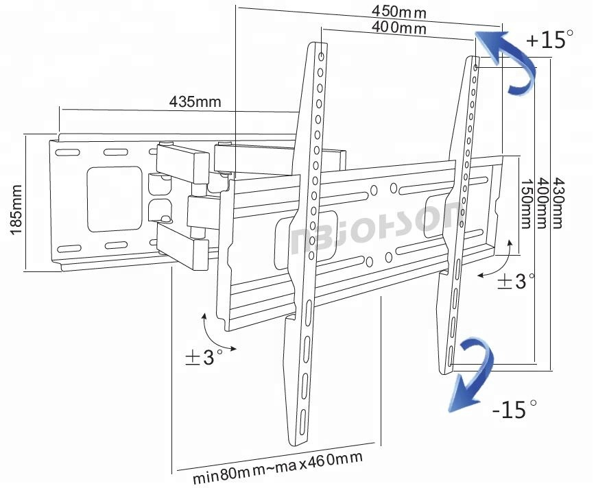 full motion hinged articulated lcd ce motorized tv wall mount