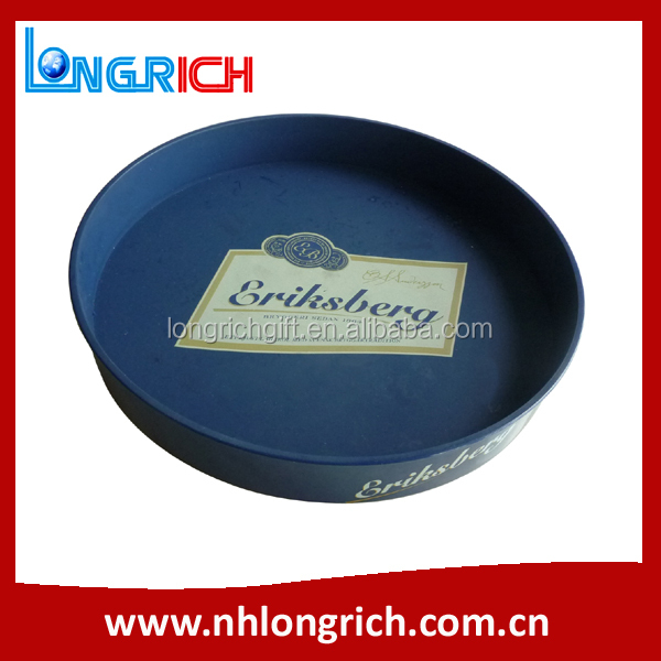 Anti-slip Custom Printed Wholesale Plastic Serving Tray / Printing Round Tray / Beer Waiter Tray