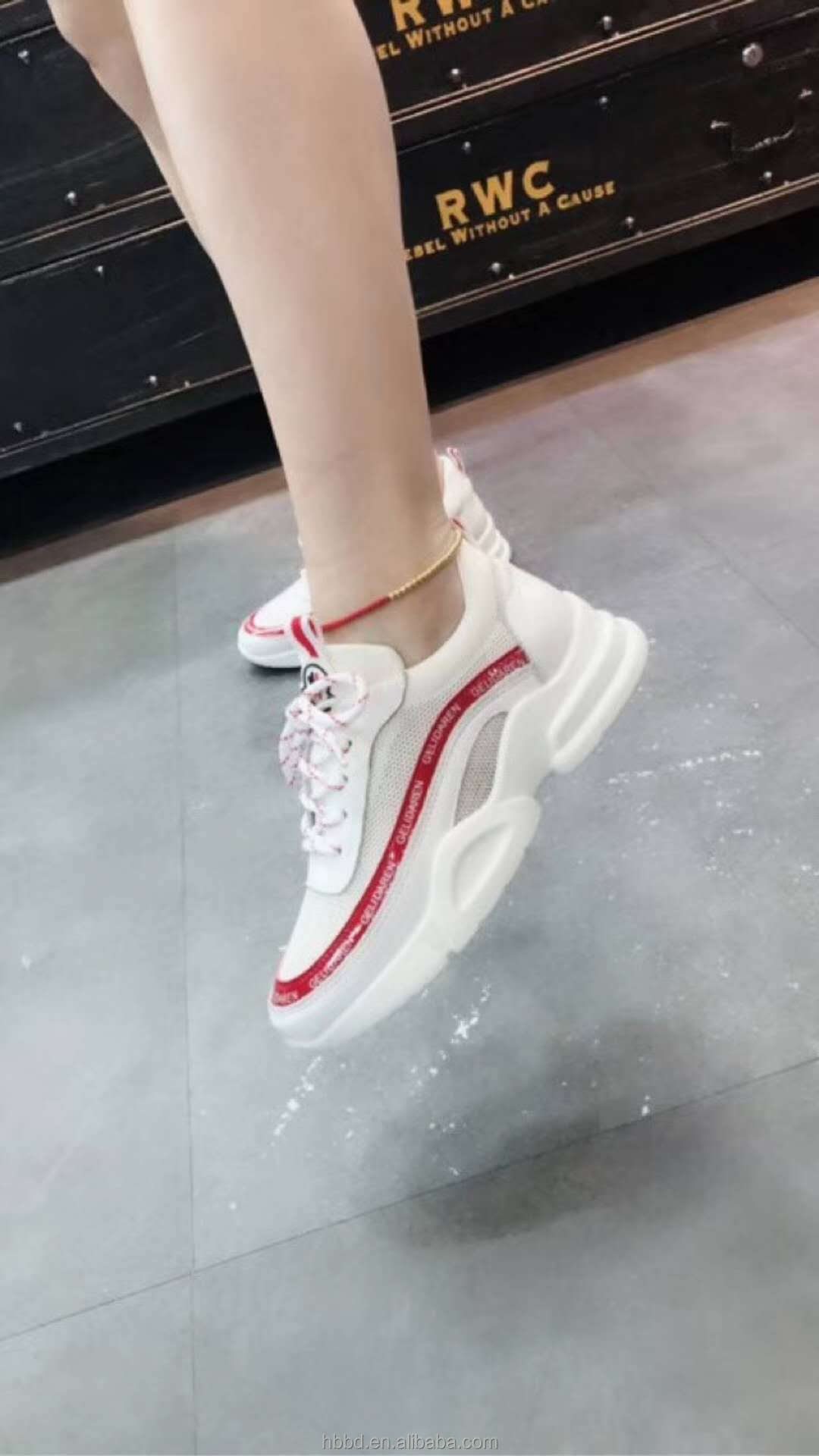 sports colorful mesh lady shoes leather lace wholesale platform up genuine sneakers with Iq6A0TBxw