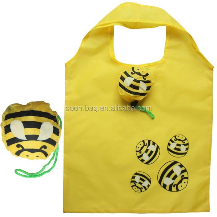 Wholesale Custom Logo Printed Reusable Polyester Cheap Grocery Folding Shopping Bag