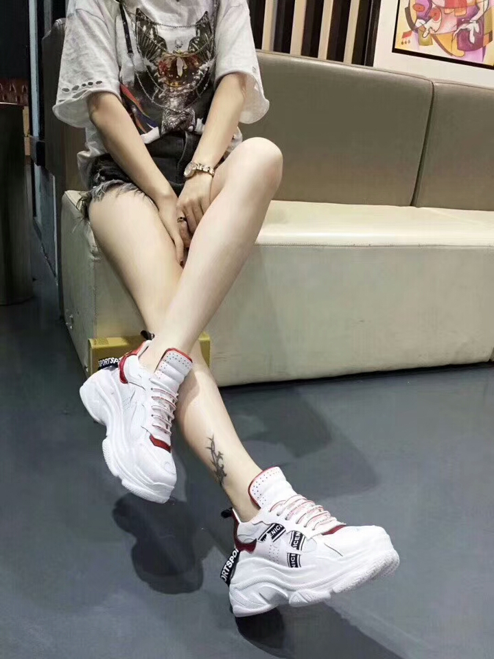 shoes sneakers leisure fashion female match 2018 stitching leather soled new thick all Korean lace up q6WTwg