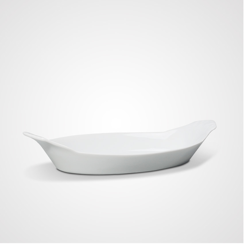 Wholesale Cheap Price White Ceramic Oval Dinner Plates With Handles