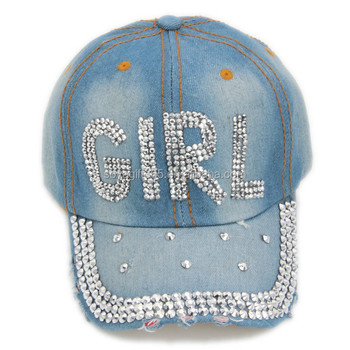 Girl-shaped Rhinestone Jeans Baseball Cap Blue Denim Hats - Buy Baseball Cap  281a171773c