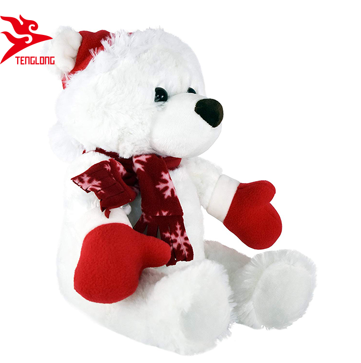 ab7e0f9d014 China Factory Custom Made Soft Sitting Stuffed White Teddy Bear With  Christmas Hat And Scarf - Buy Teddy Bear