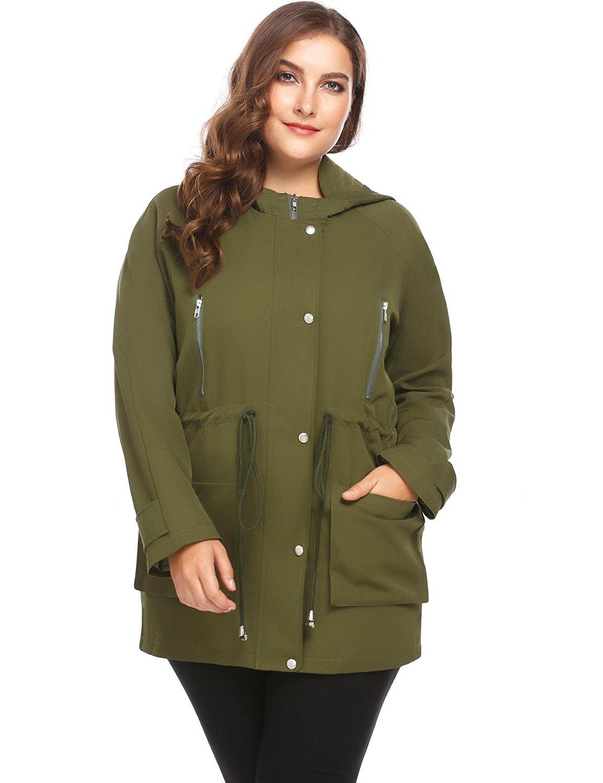 Dethler Womens Casual Comfortable Windproof Plus Size Jacket Khaki Black Olive Green