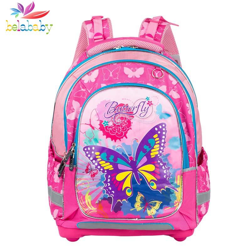 Belababy Butterfly children School Bags boy girls Primary Student Backpack Orthopedic school bags school backpack kids