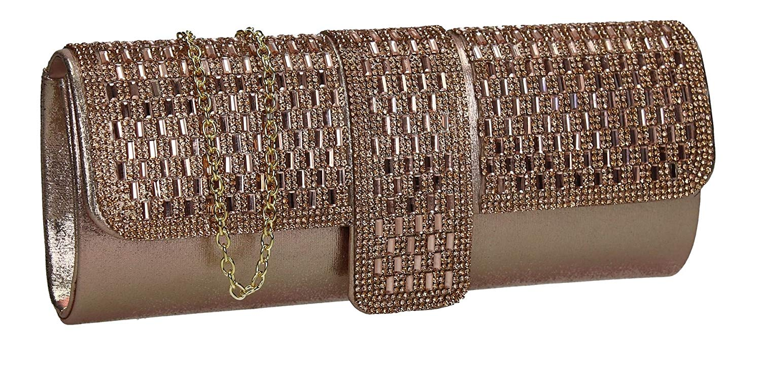 Daphne Glitter Sparkle Diamante Womens Party Prom Wedding Ladies Clutch Bag - SWANKYSWANS