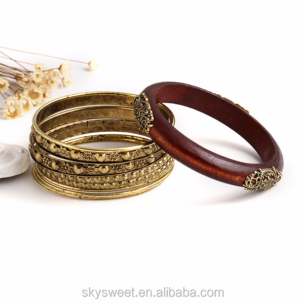 Bohemia vintage wooden carving bangle, energy bracelet set(SWTJU361)