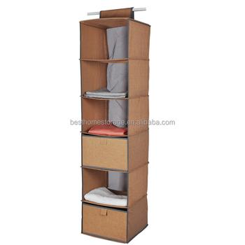 6 Shelf Hanging Closet Organizer Wardrobe Clothes Storage Solution