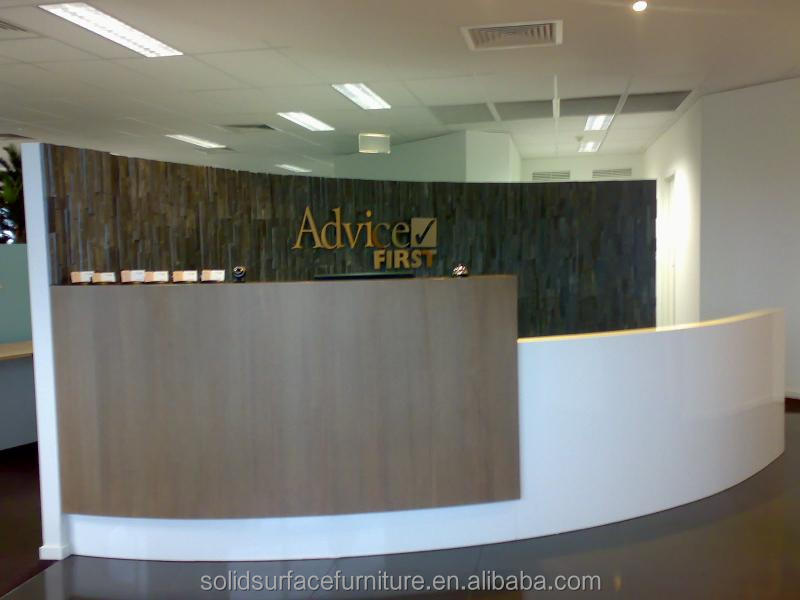 White Simple Modern Office Reception Front Desk Counter Design