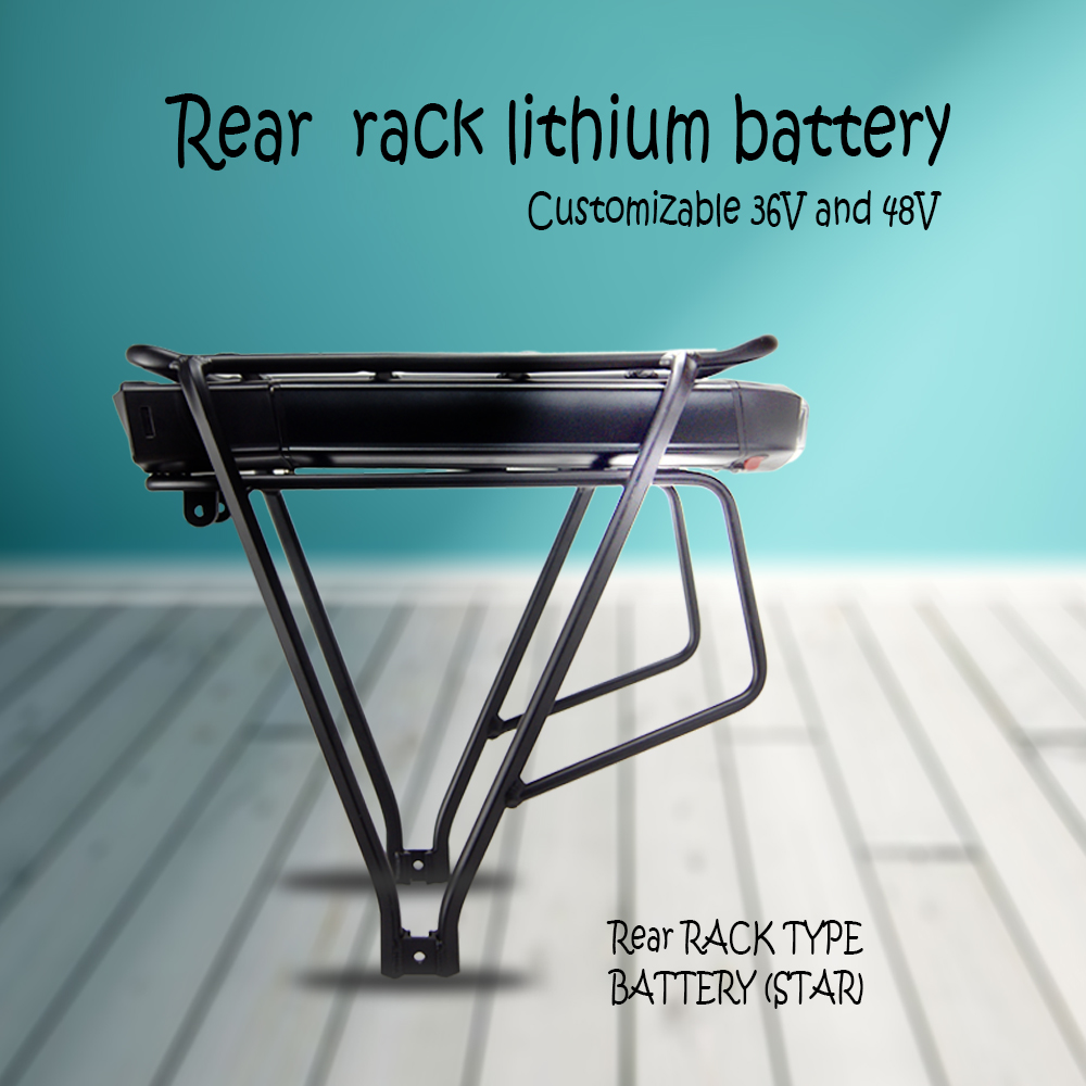 Competitive rear rack e-bike lithium battery pack with BMS and USB charge socket