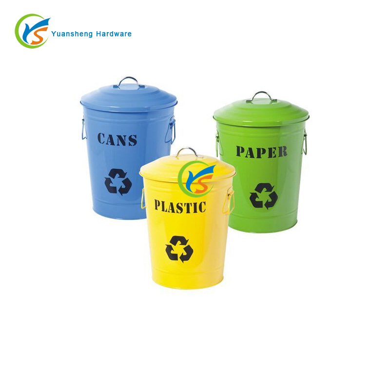 Round Outdoor Galvanized metal waste recycling bins