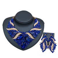 Cheap indian crystal beads jewelry sets African bridal wedding beads jewelry sets