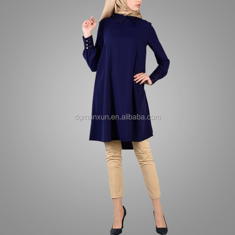 Hot Sell Navy Blue Fashion Muslim Tops Simple Style Elegant Beautiful Tunic Tops Islamic Women Clothing