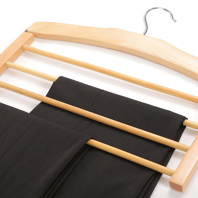 Adult Space Saving Pants Skirts Dresses Tie Hangers Wooden Mutil-Layer Clothes Hanger