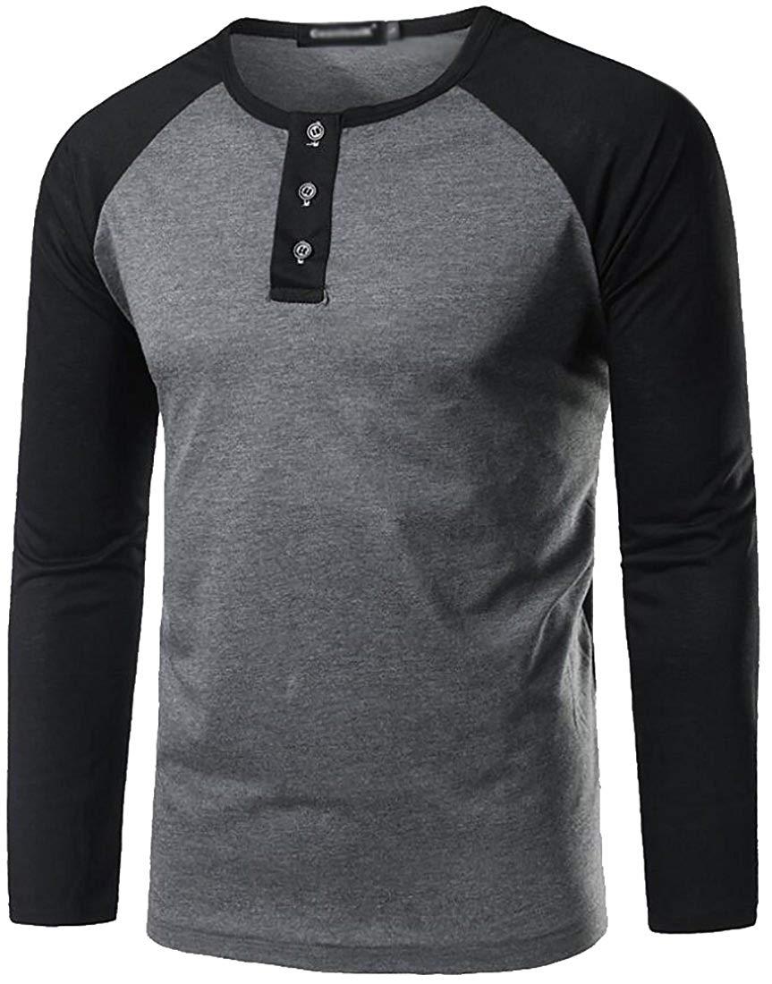 cda46407c25 Get Quotations · Fulok Mens Raglan Long Sleeve T-Shirt Crewneck 3 Button  Henley Shirt