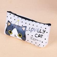 Новая мультяшная милая сумка-карандаш для кошек Papelaria, водонепроницаемый чехол-карандаш из искусственной кожи, канцелярский материал, школ...(Китай)