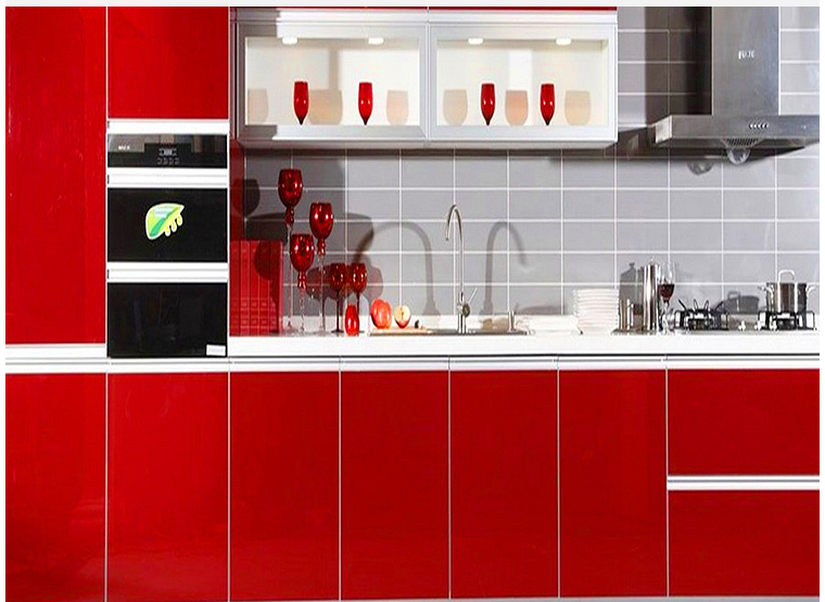 HIGH GLOSS RED COLOR melamiend chipboard/PVC thermofoil faced MDF simple cheap kitchen cabinet designs for small kitchens