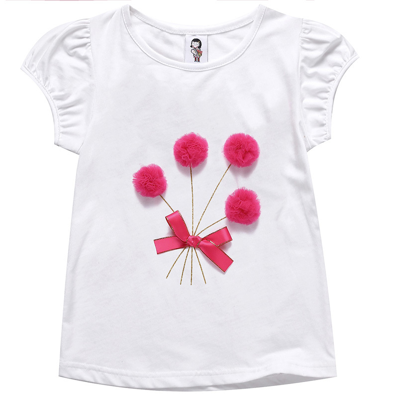 2016 hot sale high-end clothing manufacturers short sleeve four little lace ball with stain bowknot popular girl t-shirt 9708