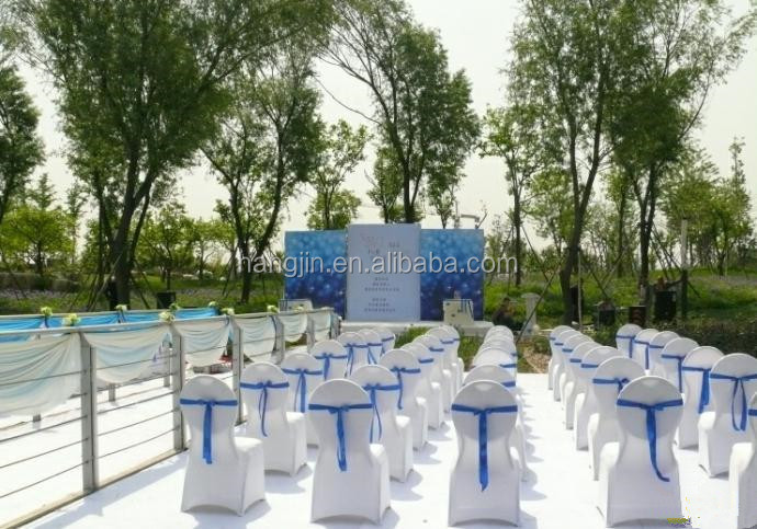 Elegant beautiful outdoor wedding party use lycra spandex chair cover and fancy chair ribbons
