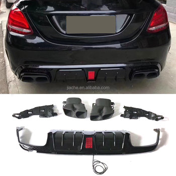 Rear Bumper Lip Diffuser Led Light With Exhaust Tips For Mercedes Benz W205  C200 C300 C43 C63 Amg Sedan 4 Door 2015-2019 - Buy Abs Rear Lip Spoiler