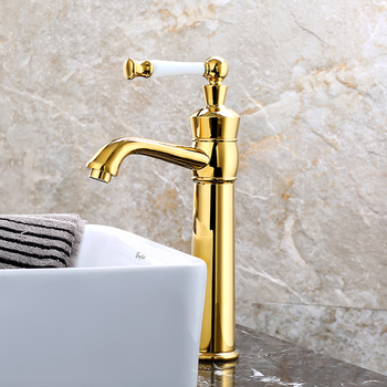Hot and cold water tap tall basin gold color bathroom faucet