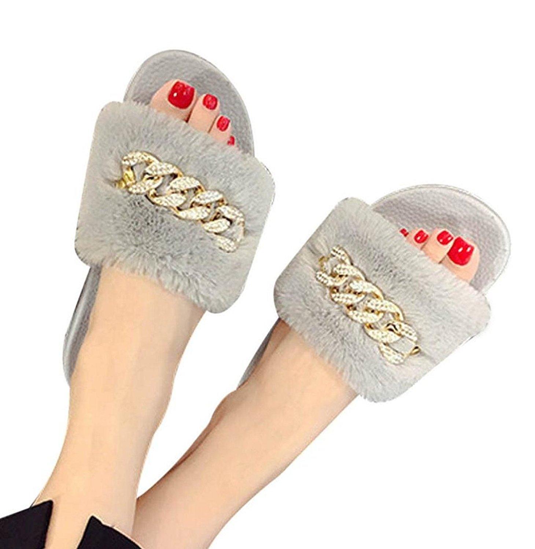 Hot Sale! Sagton Women Slides Fluffy Faux Fur Flat Slipper Fluffy Faux Fur Flat Slipper Metallic Chained Open Toe Sandal
