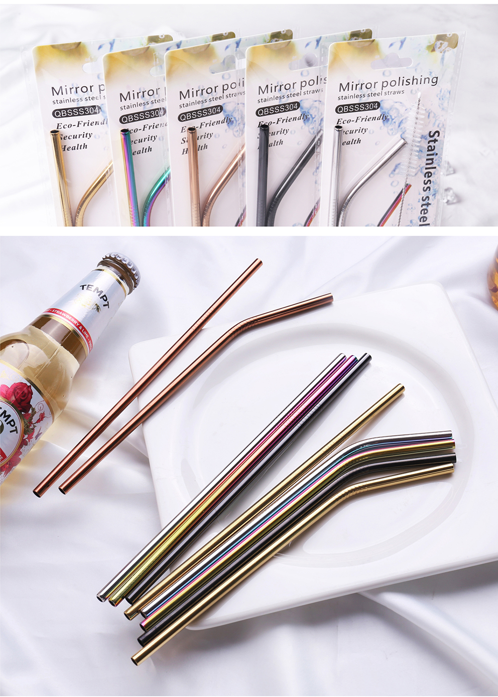 Amazon Hot Sell  Bulk Juice Stainless Steel Straw With Nylon Cleaning Brush