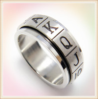 China stainless steel jewelry wholesale cheap poker engraved stainless steel 2014 ring