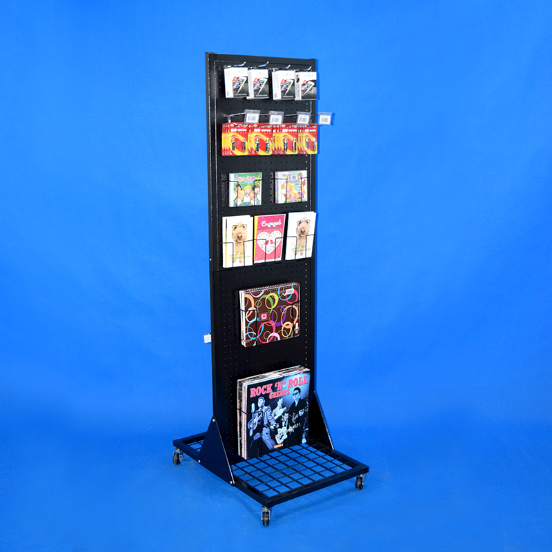 stock floor retail stores steel pegboard rack products presentation pop two sides metal display stand