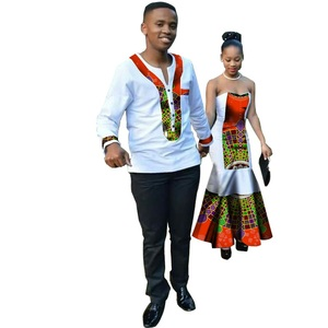 Mix Wholesale African dress print couple's clothing fashion Ankara women dresses men top in casual for party WYQ34