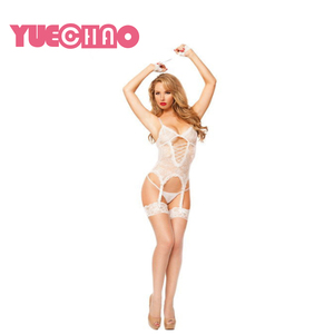 YUE CHAO Factory Direct Sales See Through Adjustable Halter Backless Dresses Women Hot Sexy Lingerie