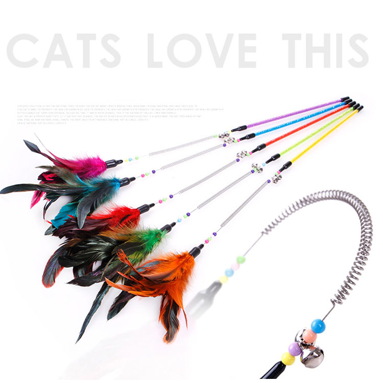 fishing supplies stainless steel teaser stick wand cat toys with feather