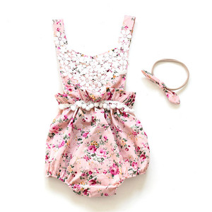Most popular 0-24M infants floral printing plain baby clothes romper