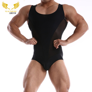 Men's clothing plain sports fitness swim body suit